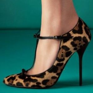 "Authentic Gucci ""Beverly"" Leopard Mary Jane Heels"